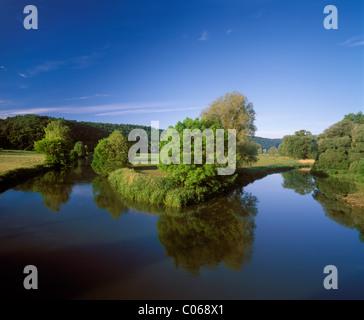 Altmuehl River near Pfuenz, Altmuehltal valley, Upper Bavaria, Bavaria, Germany, Europe - Stock Photo