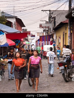 social and cultural changes and tex-mex fashion in Chichicastenango, Quiché, Guatemala, Central America - Stock Photo