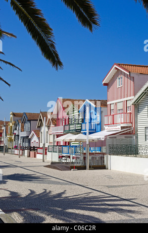 Colorful Houses( Palheiros), Costa Nova, Aveiro, Beiras region, Portugal - Stock Photo