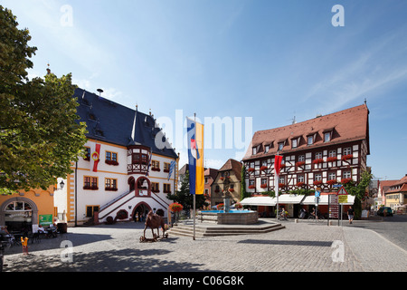 Market square with town hall, Volkach, Main-Franconia region, Lower Franconia, Franconia, Bavaria, Germany, Europe - Stock Photo