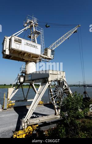Port crane, Rhine port Krefeld-Uerdingen, North Rhine-Westphalia, Germany, Europe - Stock Photo