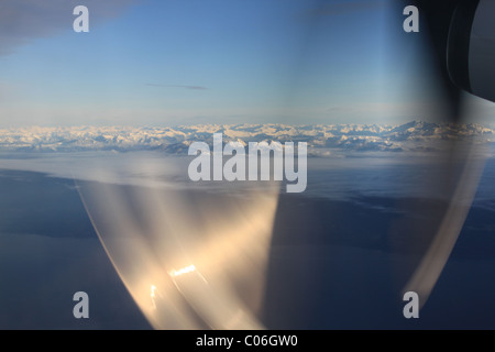 Aerial view through propeller BC coast - Stock Photo