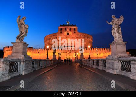 Ponte Sant'Angelo bridge, Rome, Italy, Europe - Stock Photo
