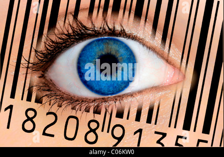 Detail of an eye with a blue iris and an EAN barcode, European Article Number, symbolic image for the see-through - Stock Photo