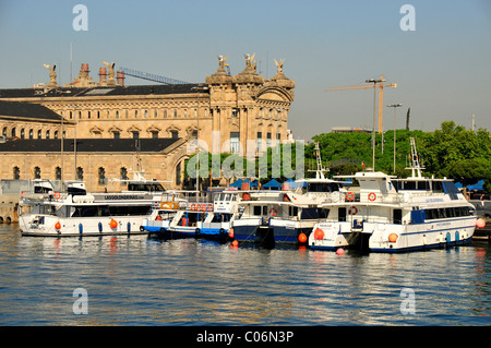 Excursion boats in the Old Port, Barcelona, Spain, Iberian Peninsula, Europe - Stock Photo