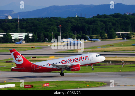 Airbus A319 from Air Berlin during take-off, Zurich Airport, Switzerland, Europe - Stock Photo
