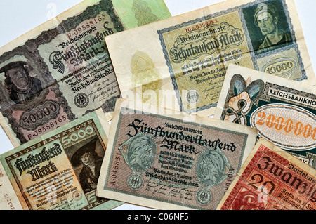 German Reichsmark banknotes, 1918-1923, Germany, Europe - Stock Photo