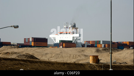 Ship Passing through Suez Canal - Stock Photo