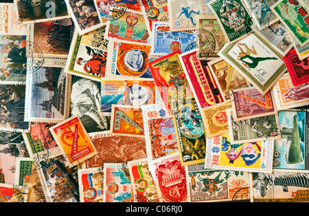 Pile of post stamps from Soviet Union - Stock Photo