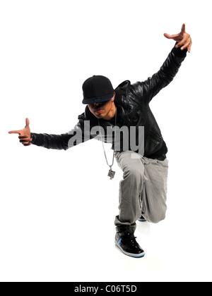 African American hip hop dancer performing isolated over white background - Stock Photo