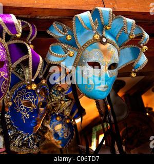 Blue Venetian Masks Venice Italy - Stock Photo