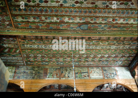 Painted ceiling,wooden parish church of Michael the Archangel in Binarowa Poland built 1500's UNESCO World Heritage - Stock Photo