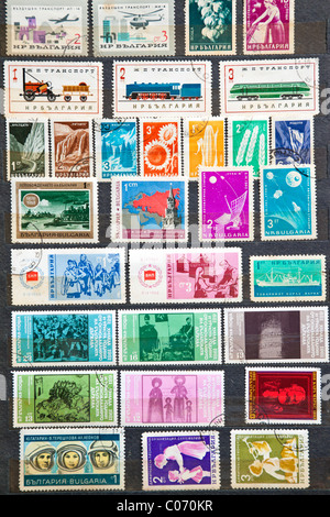 Used stamps from communist Bulgaria - Stock Photo