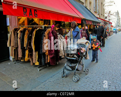 Paris, France, Woman Shopping, French Vintage Clothing Store, Display, 'Rag' Les Halles District - Stock Photo