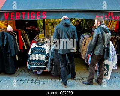 Paris, France, French Vintage Clothing Store, Display 'Vertiges', (Les Halles District) Men's Clothing - Stock Photo
