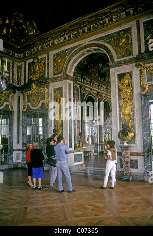 People tourist guided tour, Palace of Versailles, city of Versailles, Ile-de-France region, France, Europe - Stock Photo