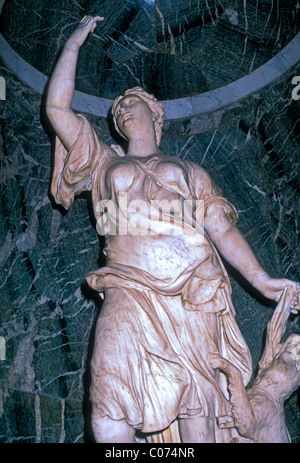 marble statue of Diana, marble statue, Diana, Roman Goddess, Palace of Versailles, city of Versailles, Ile-de-France, - Stock Photo