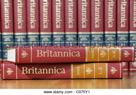 Volumes of the Encyclopedia Britannica in the library at a ...