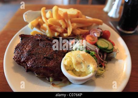 Beef steak, O'Connor's Pub, Doolin, County Clare, Republic of Ireland, Europe - Stock Photo
