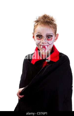 Boy, 7 years old, dressed up and made-up as a vampire - Stock Photo