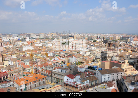 View over the city from the Miguelete bell tower of Valencia Cathedral, Spain - Stock Photo