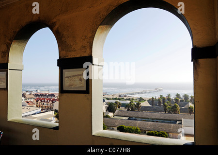 View from the Woermann Tower of the shipping company in the Woermann building on Swakopmund and the Atlantic Ocean, - Stock Photo