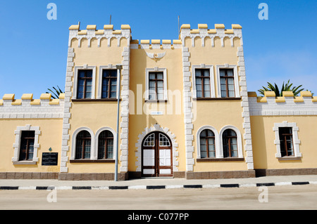 Old barracks, architecture from the German colonial period, now Hostel, Swakopmund, Erongo region, Namibia, Africa - Stock Photo