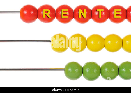 Abacus with the word Rente, German for pension, symbolic image for calculating pensions, saving on pension costs - Stock Photo