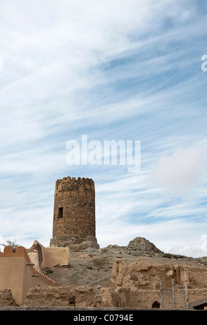 Old watchtower in Al Mudayrib, Oman, Middle East - Stock Photo