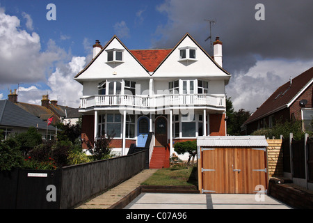 typical beautiful english home with garage in marine parade,dovercourt,essex,harwich,england,uk - Stock Photo