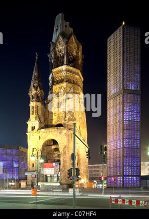Kaiser Wilhelm Memorial Church, Breitscheidplatz, Charlottenburg, Berlin, Germany, Europe - Stock Photo
