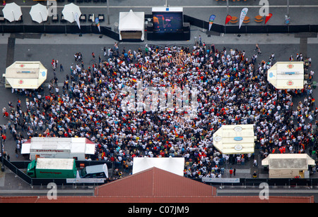 Aerial picture, public screening, Football World Cup 2010, the match Germany vs Australia 4-0, Bottrop, Ruhr district - Stock Photo