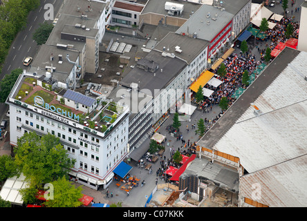 Aerial picture, public screening, Football World Cup 2010, the match Germany vs Australia 4-0, Kortumstrasse street, - Stock Photo