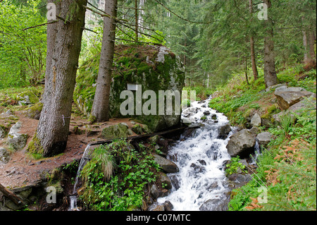 Rock, swept downhill by floodwater, 200 tons heavy, creek near the Holzner Muehle mill, Schenna, Burggrafenamt district - Stock Photo