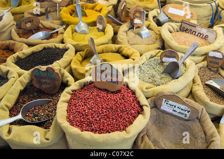 Spices at the market in Ajaccio, Corsica, France, Europe - Stock Photo