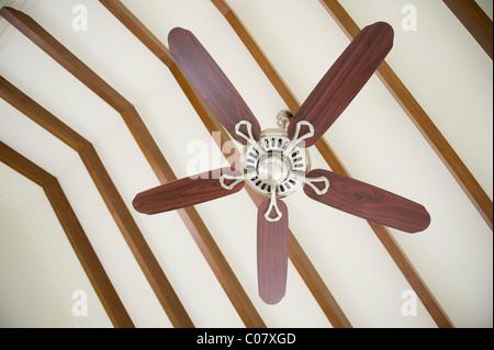 Close Up Of A White Ceiling Fan Or Electric Loft Fan