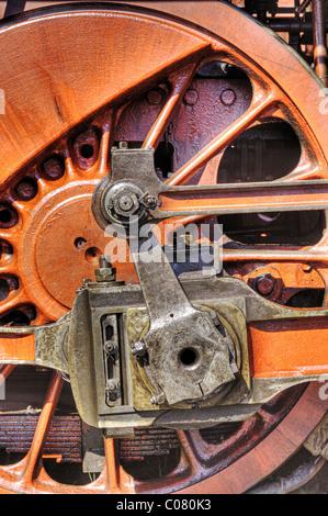 Drive shaft of a historic steam locomotive - Stock Photo