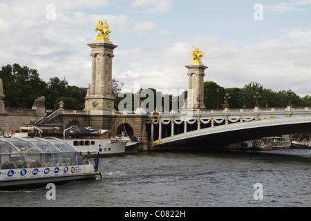 Bridge across the river, Pont Alexandre III, Seine River, Paris, France - Stock Photo