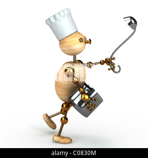 wood man cook 3d rendered for web - Stock Photo