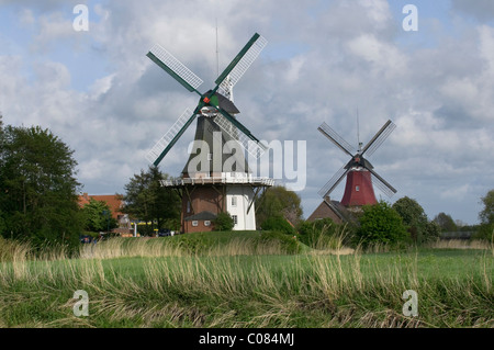 Twin Mills of Greetsiel, Krummhoern, East Frisia, Lower Saxony, Germany, Europe - Stock Photo