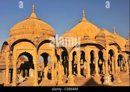 Cenotaphs, tombs of the rulers of Jaisalmer, Jaisalmer, Rajasthan, India, Asia - Stock Photo