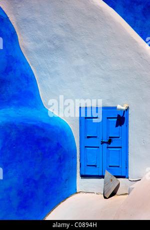 Beautiful, traditional, minimal, architecture, from Oia village, Santorini island, Greece - Stock Photo