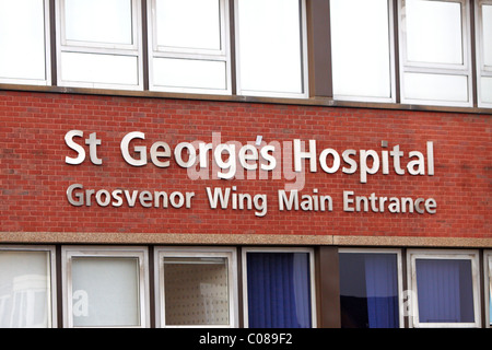 St George's hospital in Tooting main entrance - Stock Photo