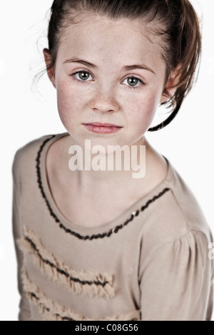 Pretty but Messy Brown Haired Child - Stock Photo