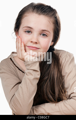 Cute Brown Haired Child Smiling - Stock Photo