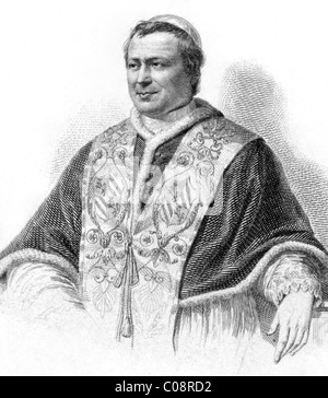 Pope Pius IX (1792-1878) on engraving from the 1800s. - Stock Photo