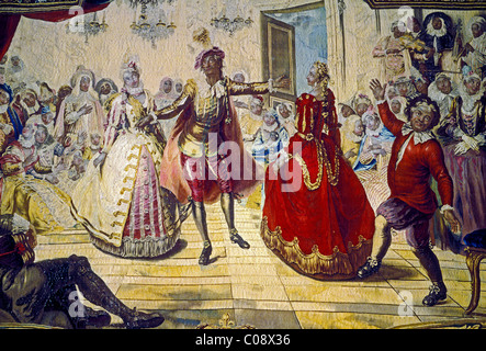 tapestry, Kings Grand Apartment, Palace of Versailles, city of Versailles, Ile-de-France, France - Stock Photo