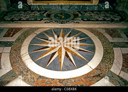 Universality of Godl, marble floor, mosaic floor, Royal Chapel, Palace of Versailles, city of Versailles, France - Stock Photo