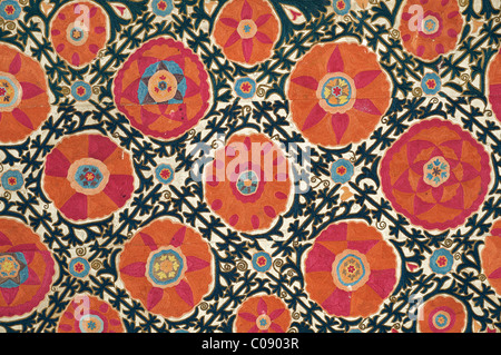 Suzani. Silk embroidered textile from Uzbekistan. Pomegranate motif - Stock Photo