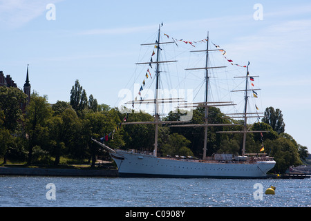 The AF Chapman, a square-rigged tall-ship that is moored at Skeppsholmen in the harbor in Stockholm, Sweden. - Stock Photo